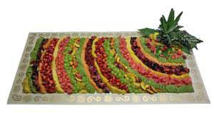 Obstspiegel mit frischen Früchten der Saison