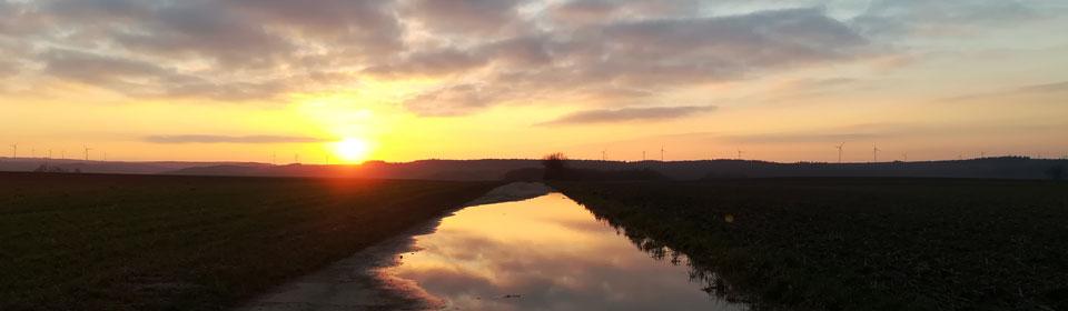 Sonnenuntergang bei Nack im Februar 2020