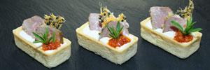 Tartelette mit Lamm, weißer Bohnencreme & Tomatenpesto